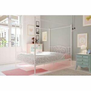 Details about DHP White Metal Four Poster Canopy Bed Frame Teens Bedroom  Furniture NEW