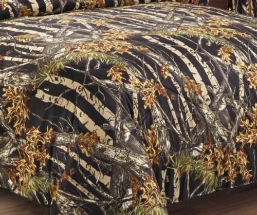 BLACK CAMO 1pc COMFORTER King CAMOUFLAGE WOODS CABIN TREE HUNTING BEDDING