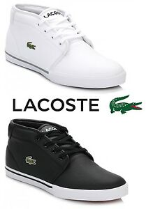 48764448d Image is loading Lacoste-Mens-Trainers-Ampthill-Black-White-Leather-Lace-