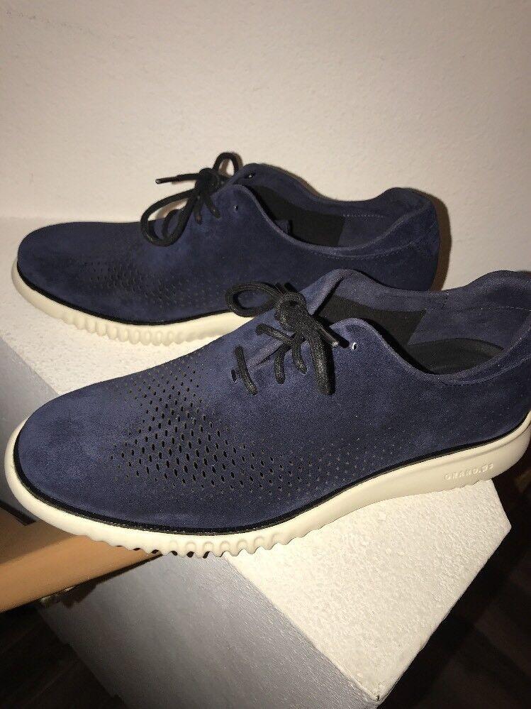 Cole Haan Men's 2.Zerogrand Navy Suede Unlined Laser Wingtip Oxford shoes  8.5