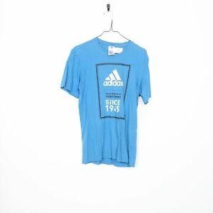 Vintage Adidas Big Logo T Shirt Tee Bleu | Petit S