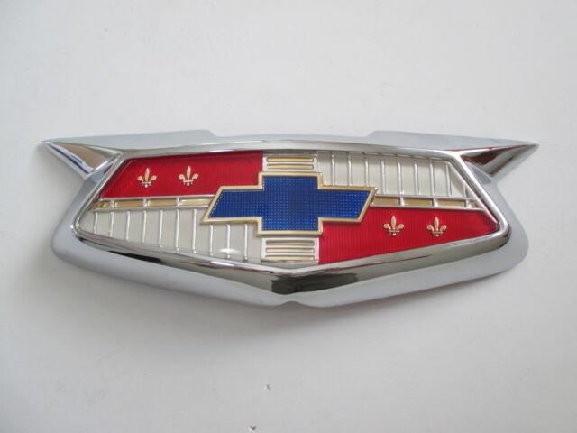 54 Chev Bonnet Badge Assembly 1954 Chevrolet Belair Emblem Hood 210