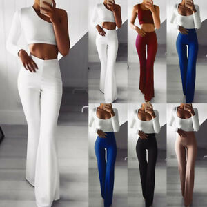 Stylish-Women-039-s-Flared-Wide-Leg-Pants-High-Waist-OL-Bootcut-Office-Long-Trousers