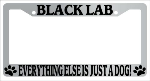 Chrome License Plate Frame Black Lab Everything Else Is Just A Dog Auto 287
