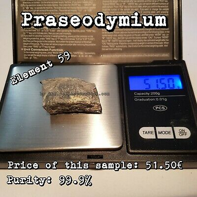 Accurato Praseodymium Element 271g 99.9% Collection Metal Vial Lab Reagent Periodic Table Essere Distribuiti In Tutto Il Mondo
