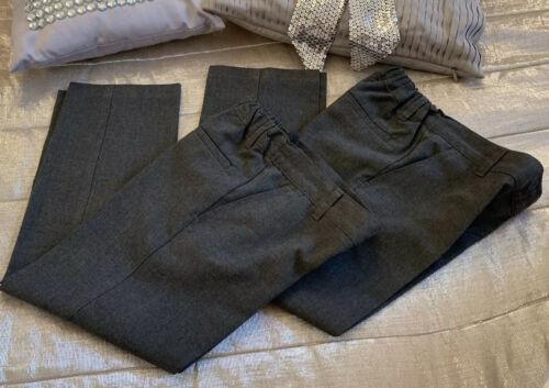 M/&S Boys Grey Slim School Trousers Age 5 6 Yr Adjustable Waist Stain Defence x 2