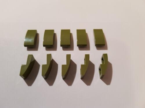 LEGO® 10 x 11477 Dach Bogen Stein 2 x 1 oliv grün ohne Noppen 6031787 #AA53