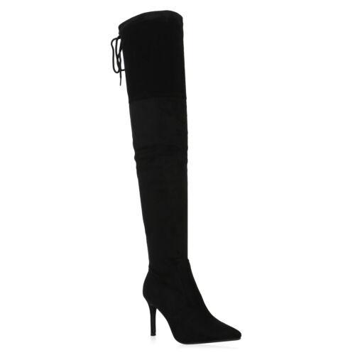 Damen Stiefel Overknees Gefütterte Stiletto High Heel Boots 831968 Schuhe