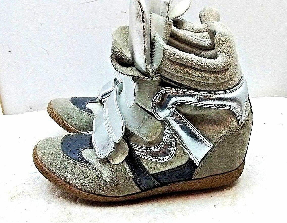 Steve Madden Grey Suede Highlight Hidden Wedge Skeakers Women shoes 6 M