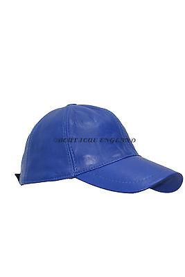 New BASEBALL Cap Cobalt Blue Unisex Real Soft Nappa Leather Hip-Hop Hat