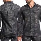 AFFLICTION Mens Embroidered Button Down Shirt SINNERS Biker UFC Roar S-3XL $88