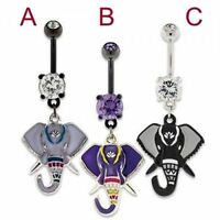 Elephant Belly Ring Dangle Navel Piercing Body Jewelry 14g Prong Set Pvd Coated