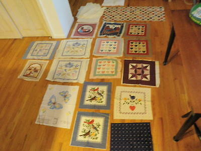 Vintage Pillow Top Cut & Sew Lot of 17 Fabric Panel Applique Blue Shades   A20