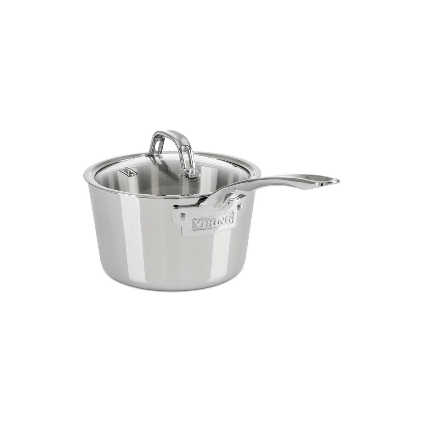 Viking Contemporary 3-Ply - 2.4 Qt. Sauce Pan w Lid - Mirror Finish