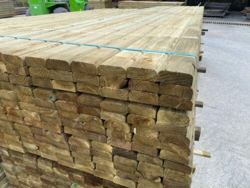 Premium Treated Timber D Rail Wood Fencing Boards Post Rails Slats 100mm x 38mm
