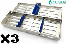 3 Dental Sterilization Cassette Autoclave Tray Rack Of 7 Instruments