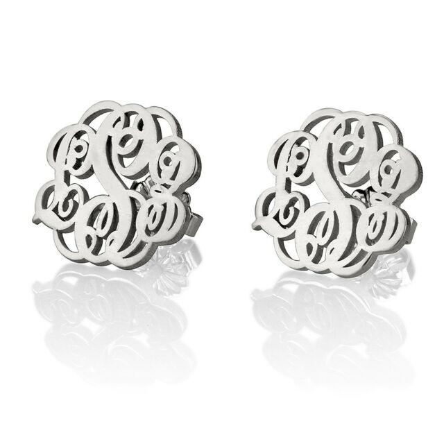 Stud Monogram Earrings Fashion Women Jewelry - Elegant Pair Silver - oNecklace ®