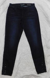 e5b97cb486b2a JLO JENNIFER LOPEZ Womens Dark Wash Midrise Lace-up Ankle Skinny ...