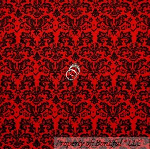 BonEful-Fabric-FQ-Cotton-Quilt-VTG-Red-Black-Flower-Damask-Heart-Xmas-Calico-Dot