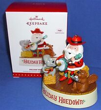 Hallmark Ornament Holiday Hoedown Santa Beaver Guitar Harmonica Sound Motion NIB