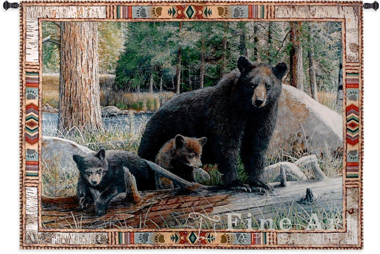 53x36 NEW DISOVERIES Bear & Cubs Wildlife Tapestry Wand Hanging