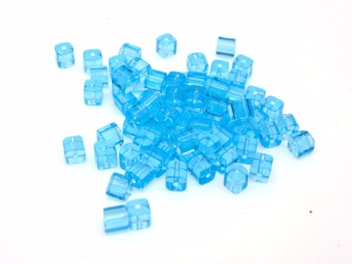 80 Pcs 4mm Blue Polished Glass Cubes Beads Jewellery Craft Beading G132