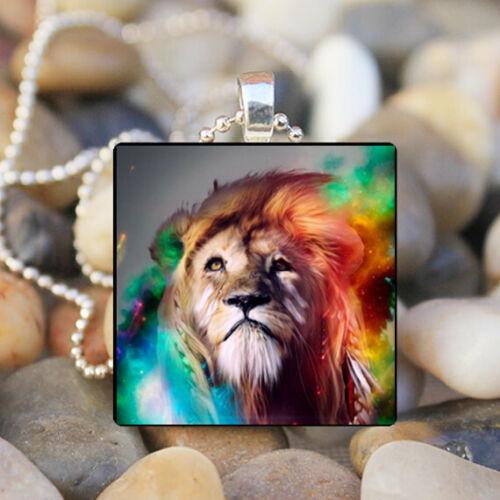 Psychedelic Lion Collier Verre Mosaïque Collier pendentif Lion Bijoux Animal