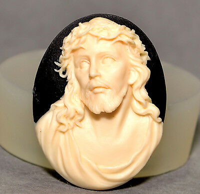 JESUS CHRIST CAMEO - SILICONE FLEXIBLE PUSH MOLD POLYMER CLAY FIMO MOULD BAKEABL