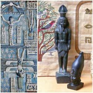 Vintage-Egyptian-1970-039-s-Pharaoh-Small-Bust-Black-Soapstone-Collectable-24-99