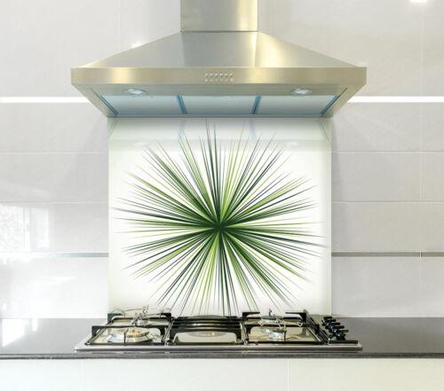 Heat Resistant Toughened Printed Glass Splashback Green Spikes