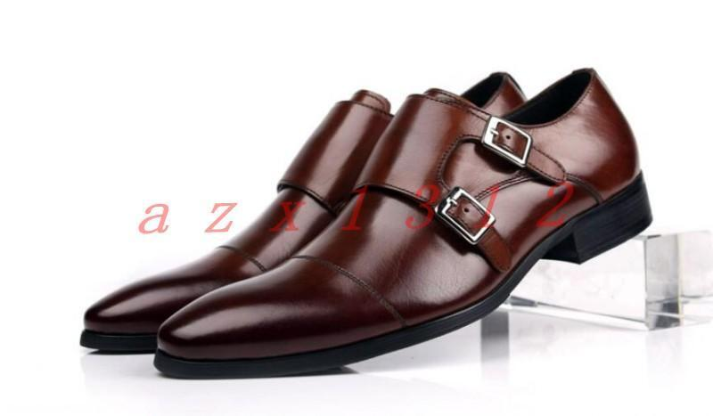 Uomo Pelle Pointy Toe Brogue Business Formal Brogue Buckles Shoes Brown Dress Shoes Buckles c8ccc3