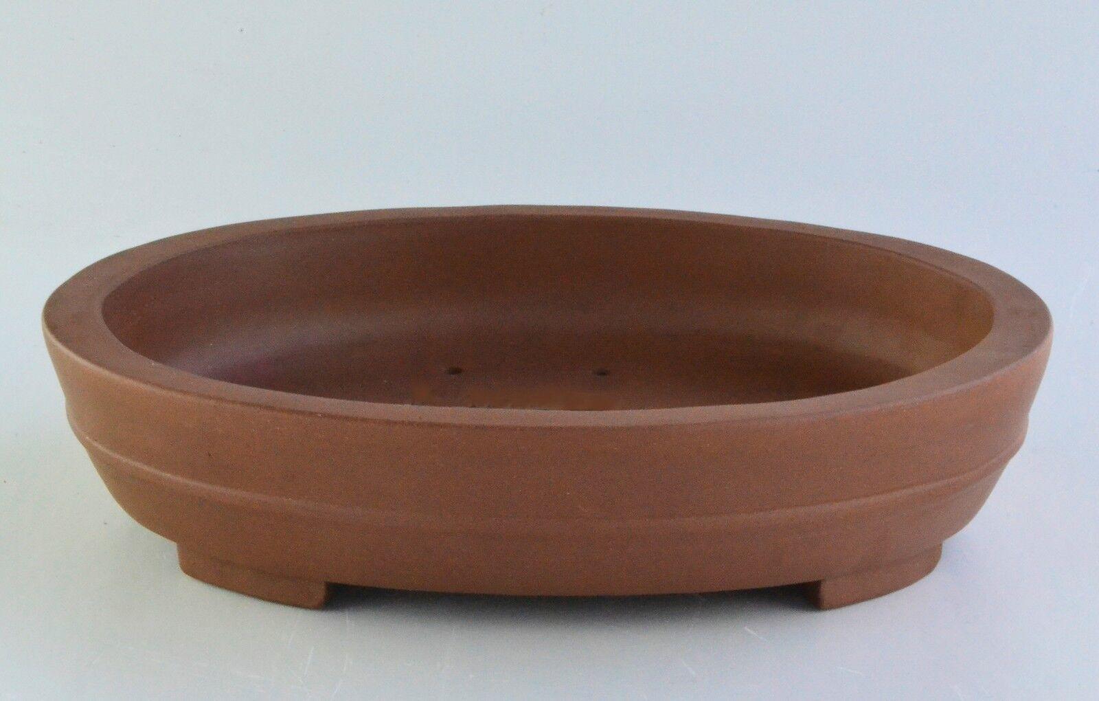 Sin Esmaltar 17  Oval Bonsai Maceta de cerámica de arcilla Yixing Púrpura (PB8-17)
