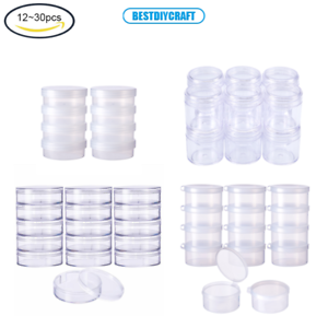 50pcs Storage Cups Clear Plastic Jewelry Bead Makeup Box Small Round Container