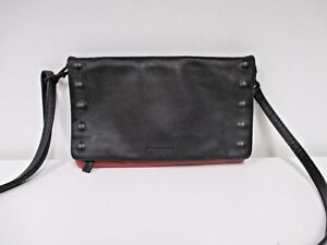 Image Is Loading Hammitt Los Angeles Black And Red Foldover Clutch