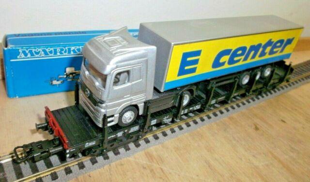 Märklin H0 4663 Flachwagen/Rungenwagen Rs 680 der DB mit Edeka Lastwagen