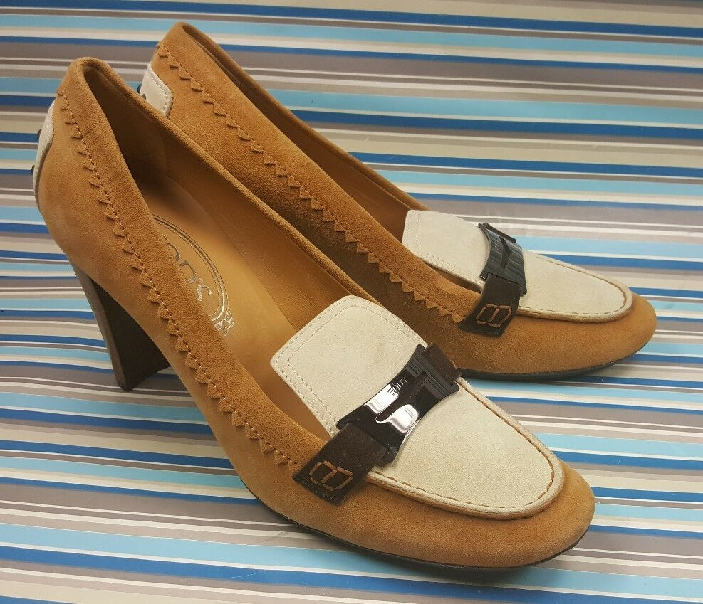 TOD'S MOCCASIN LOAFERS HEELS SUEDE LEATHER Damenschuhe Schuhe US 10 , EUR 40