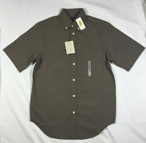 NWT-Men-039-s-Roundtree-amp-Yorke-Slim-Fit-Brown-Plaid-Short-Sleeve-Button-Front-Shirt