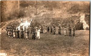 S21-2108-Vintage-RPPC-Postcard-Native-American-Ceremony-Adirondacks-c-1910