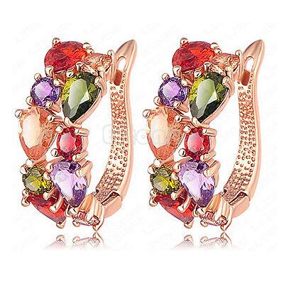 Elegant Lady Rose White Gold Plated Crystal Zircon Hoop Earrings Fashion