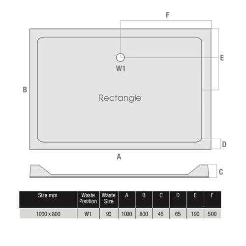 Shower Tray Enclosure Slimline Square Rectangle Quadrant Wet Room FREE Waste