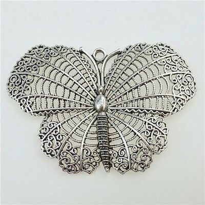 13019 4PCS Antique Silver Tone Large Hollow Butterfly Insect Pendant Charms