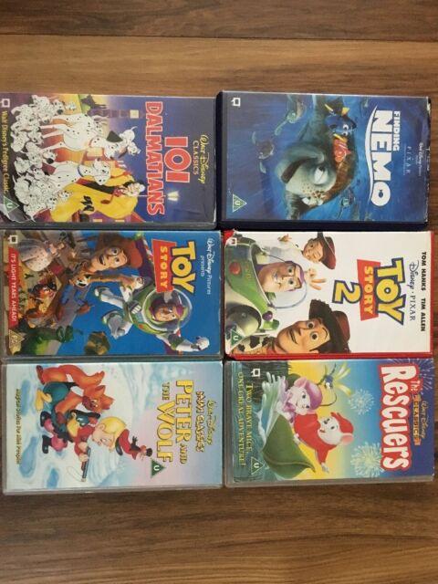 6 Kids  Walt disney classics vhs videos.101 Dalmatian, 1/2 /TOY story and Nemo