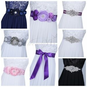 7aaaba0b96 Details about Floral Crystal Rhinestone Waistband Beaded Belt Wedding  Bridal Dress Sash Ribbon