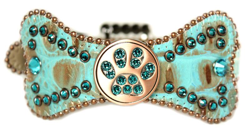 BB Simon Bow Lt. Green and Brown Leather Dog Collar Medium