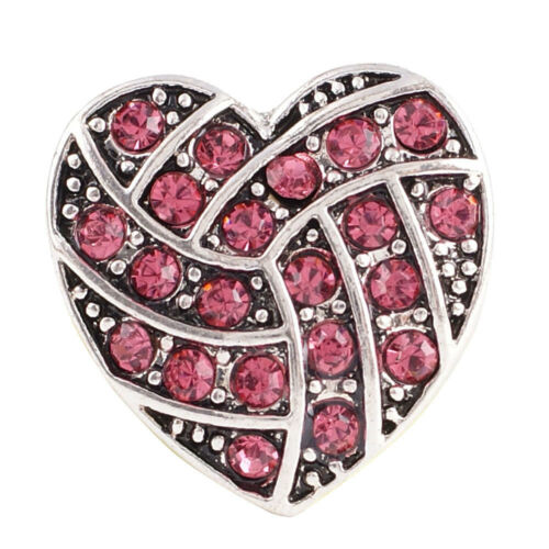 1 PC 18MM Pink Heart Rhinestone Silver Charm for Snap Jewelry KC8514 CC2243