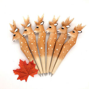 Cute-Creative-Deer-Writing-Pen-Wooden-Ballpoint-Pens-Office-Student-Stationery