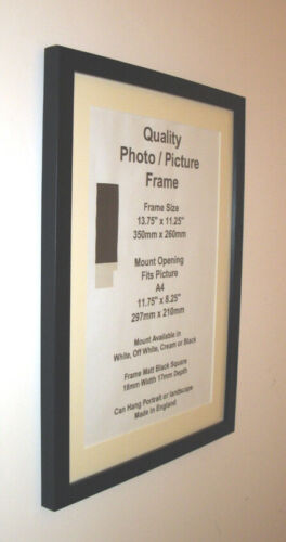 "Black Photo Picture 19mm Frame 9x9/"" 9x10/"" 9x11/"" 9x12/"" 9x13/"" 9x14-20/"" Mount Glass"