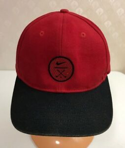 7809dbe63e3e4 VINTAGE NIKE BASEBALL CAP HAT GOLF Red   Black Strapback 100% Cotton ...