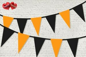 PASTELLO-arancione-e-nera-colorato-Bunting-Banner-15-Bandiere-12ft-da-Festa-Decor-UK