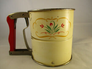 3 Cup Single Screen Metal Sifter with Wheat Pattern Androck Flour Sifter